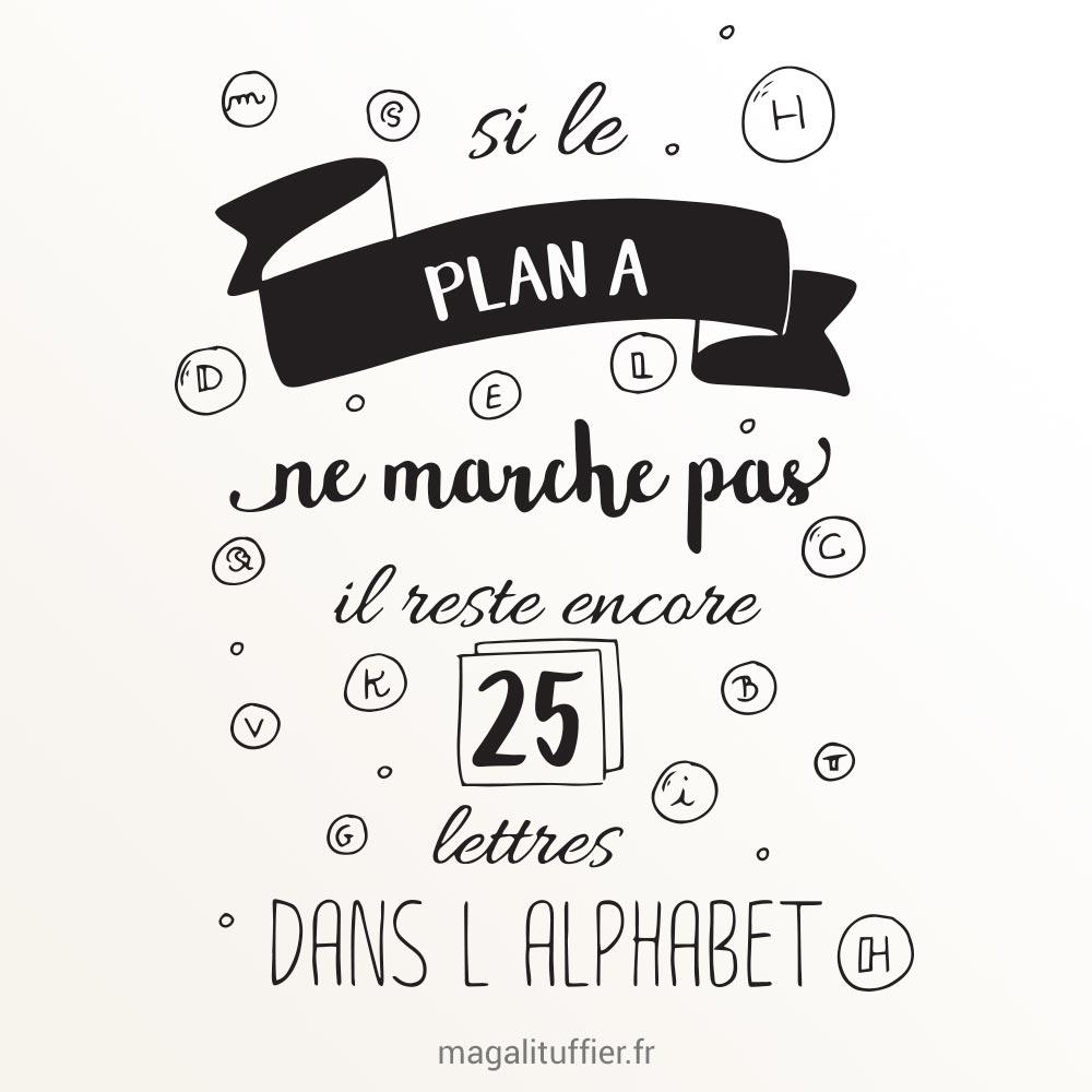 Si le plan A ne marche pas, il reste encore 25 lettres dans l'alphabet