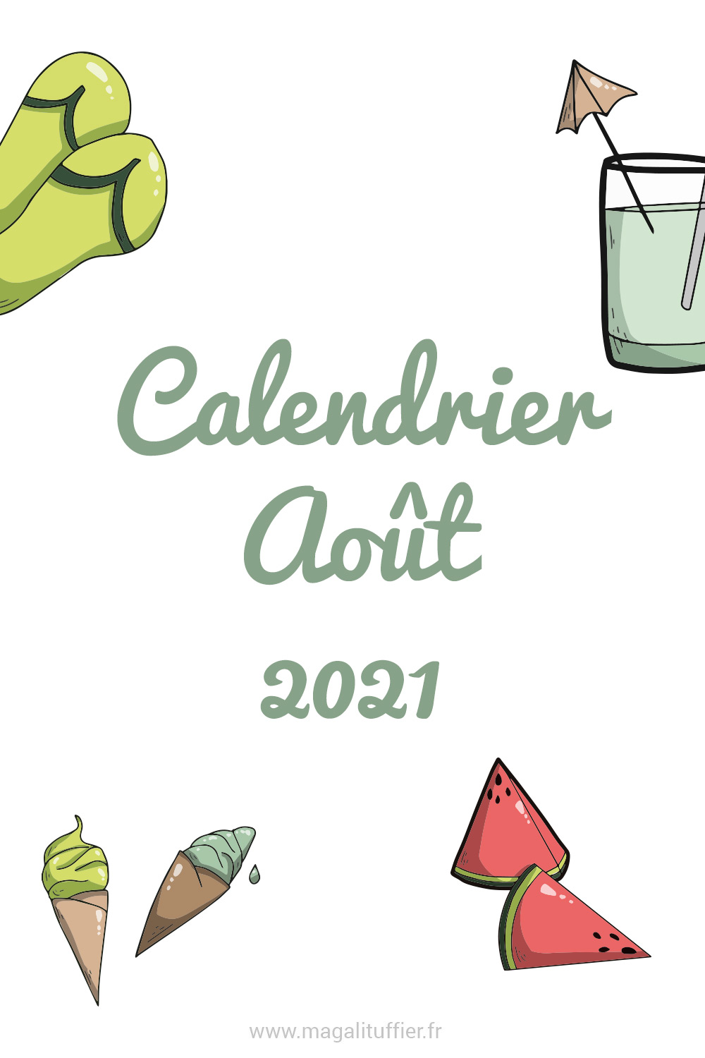 Calendrier Aout 2021
